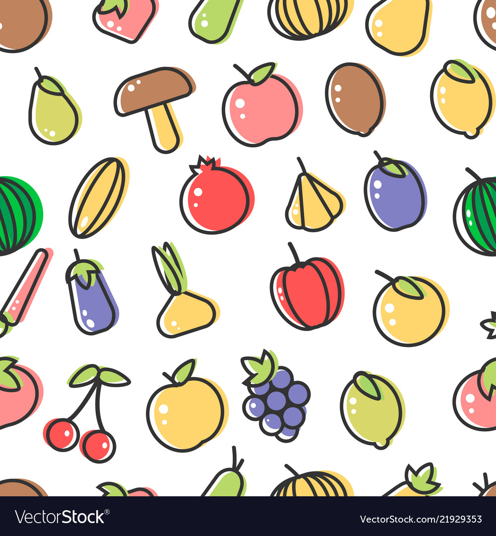 Vegetable and fruits organic food seamless pattern