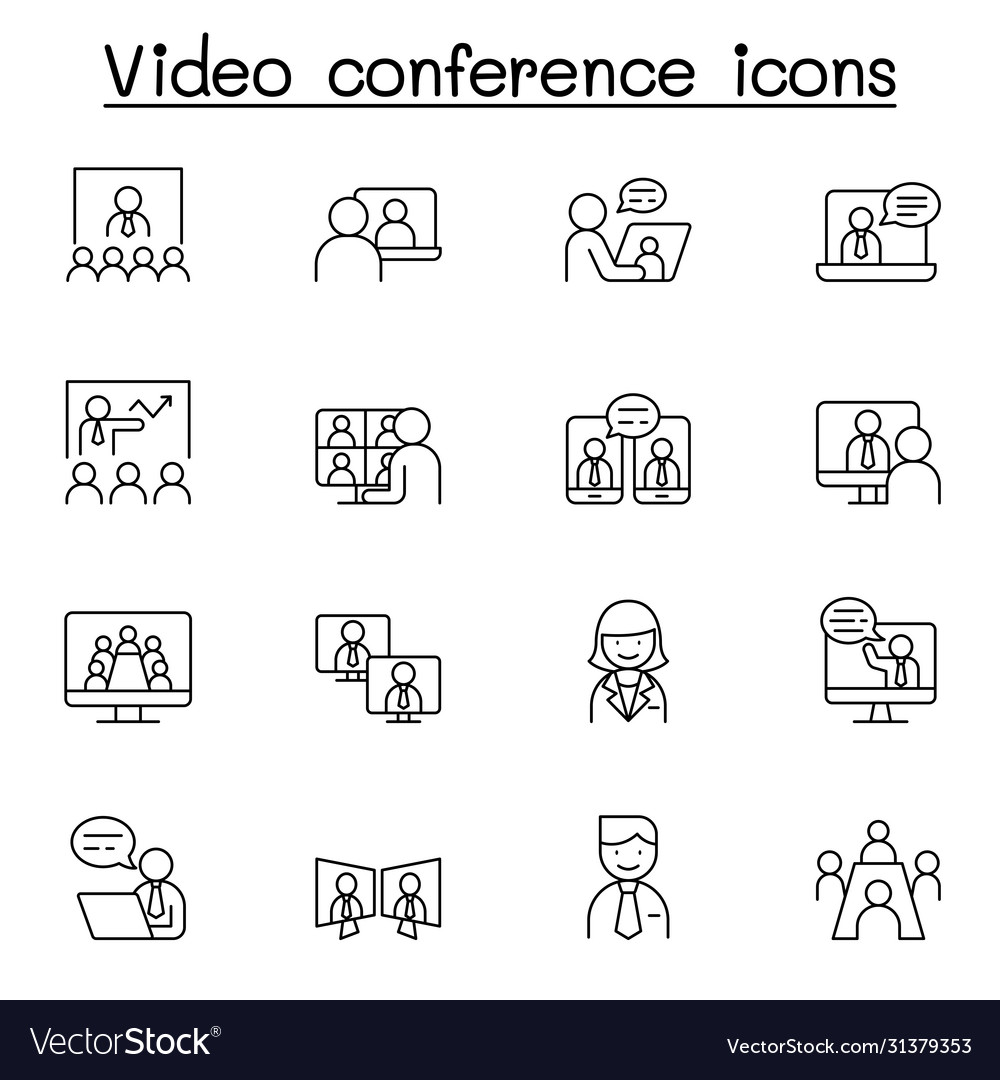 Video conference icons set in thin line style