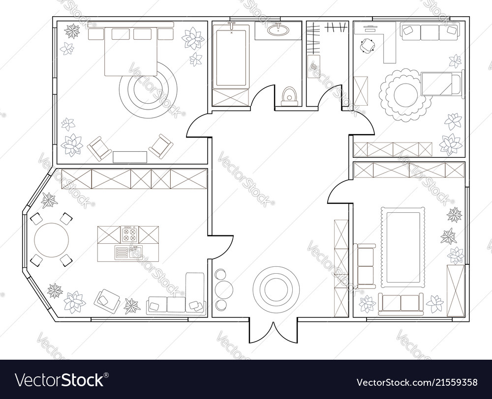 Abstract Plan Of Two Bedroom Apartment Vector Image