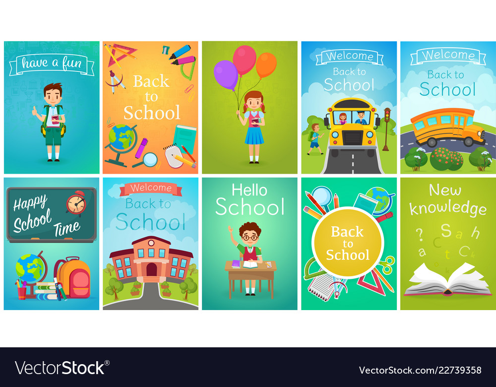 Back to school card template banners set school