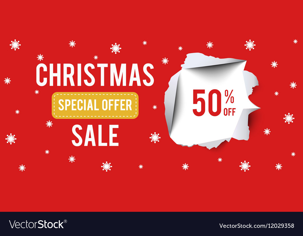 da70bdd176 Christmas Sale banner on red background with 50 Vector Image