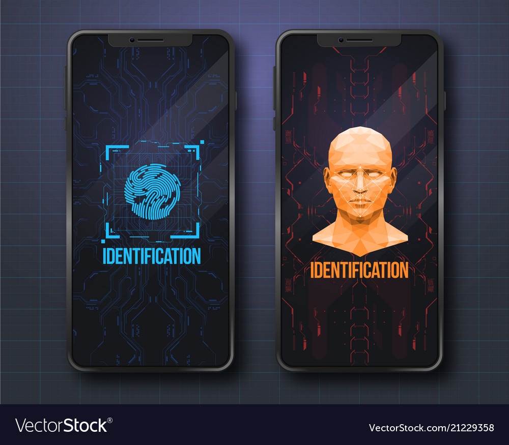 Concept of face scanning biometric id with