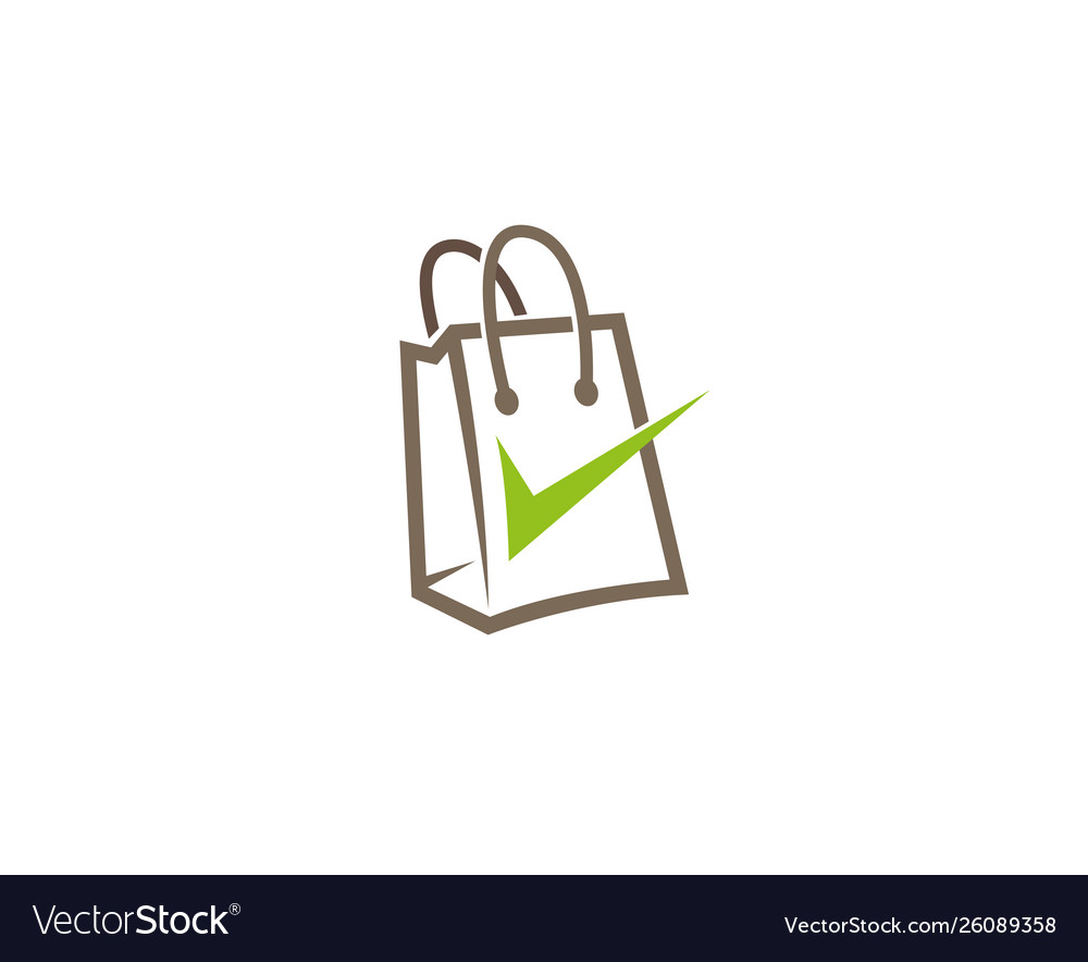 Creative abstract shopping bag check logo design