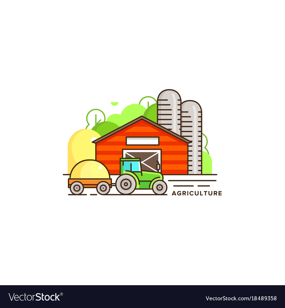 Farming flat in linear design vector image