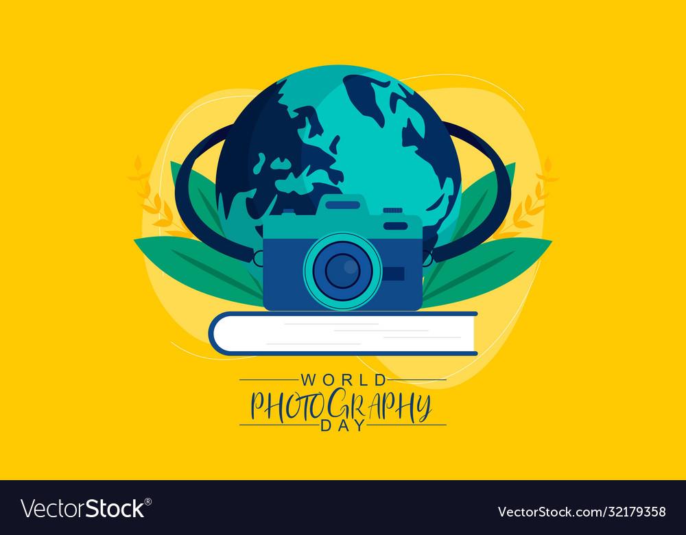 Flat design world photography day logo
