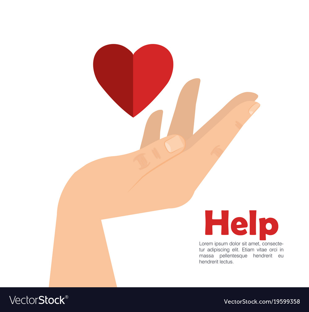 Hand with heart help