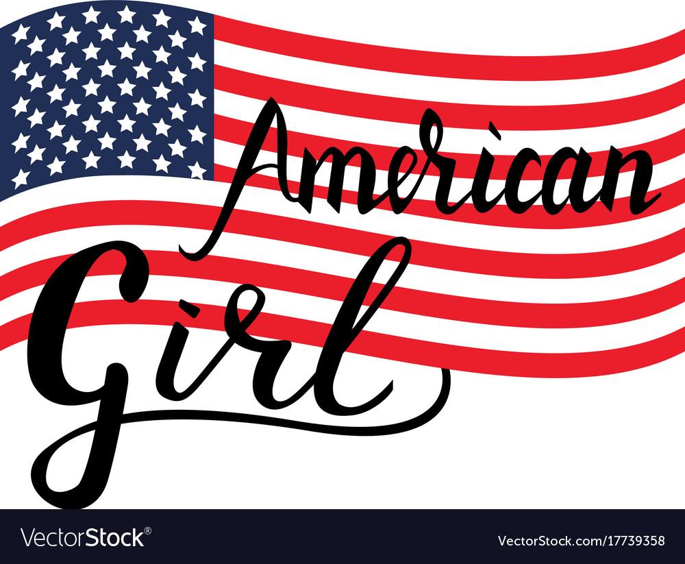 Inscription brush american girl vector image
