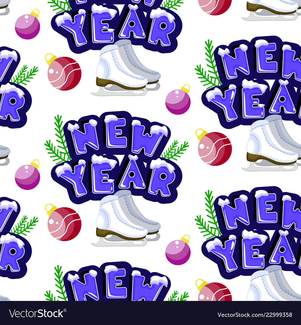 new year seamless pattern cute colorful vector image