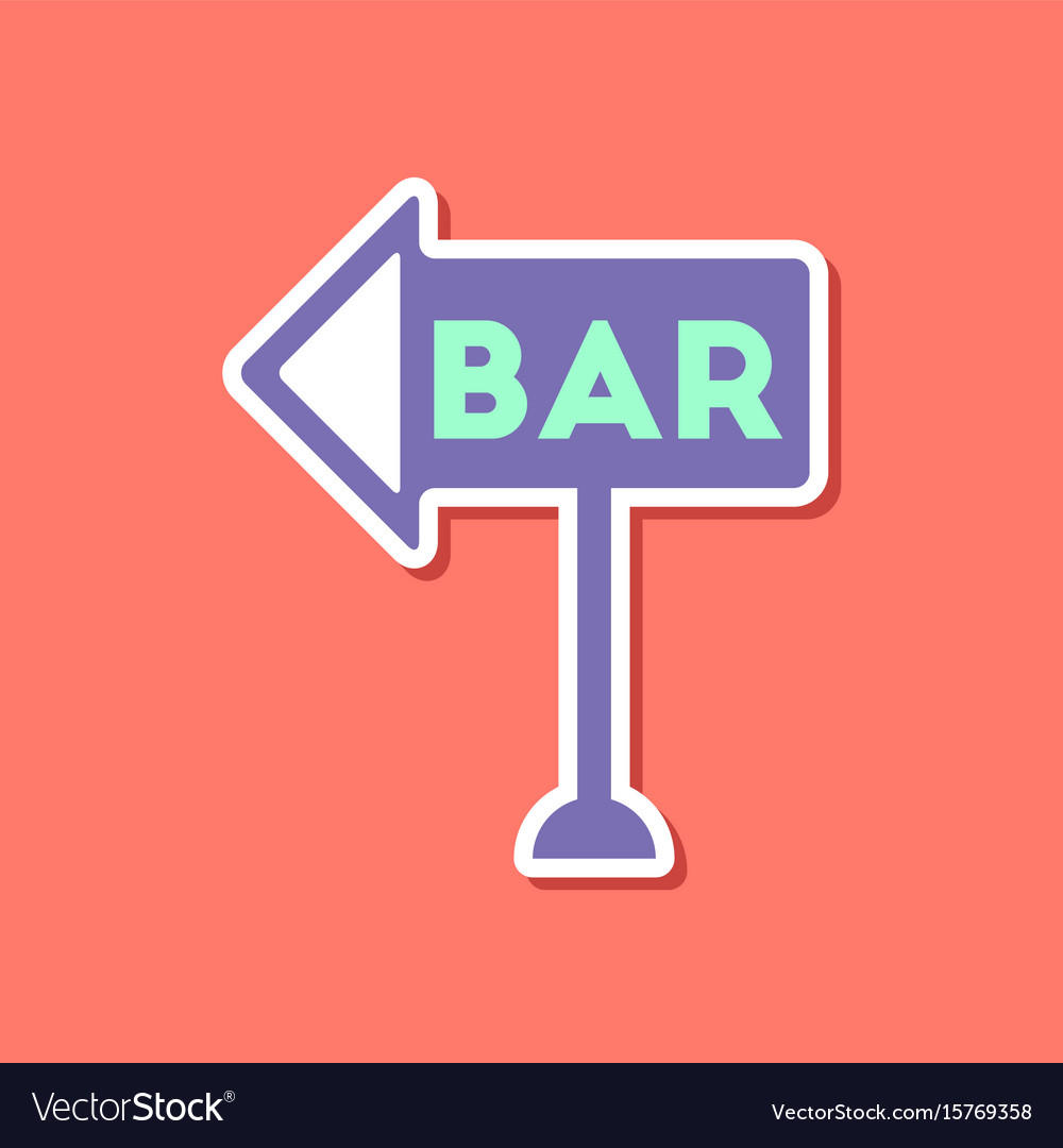 Paper sticker on stylish background bar sign