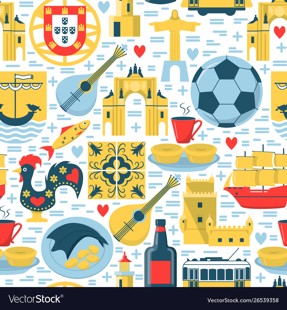 Portugal seamless pattern with icons in flat style