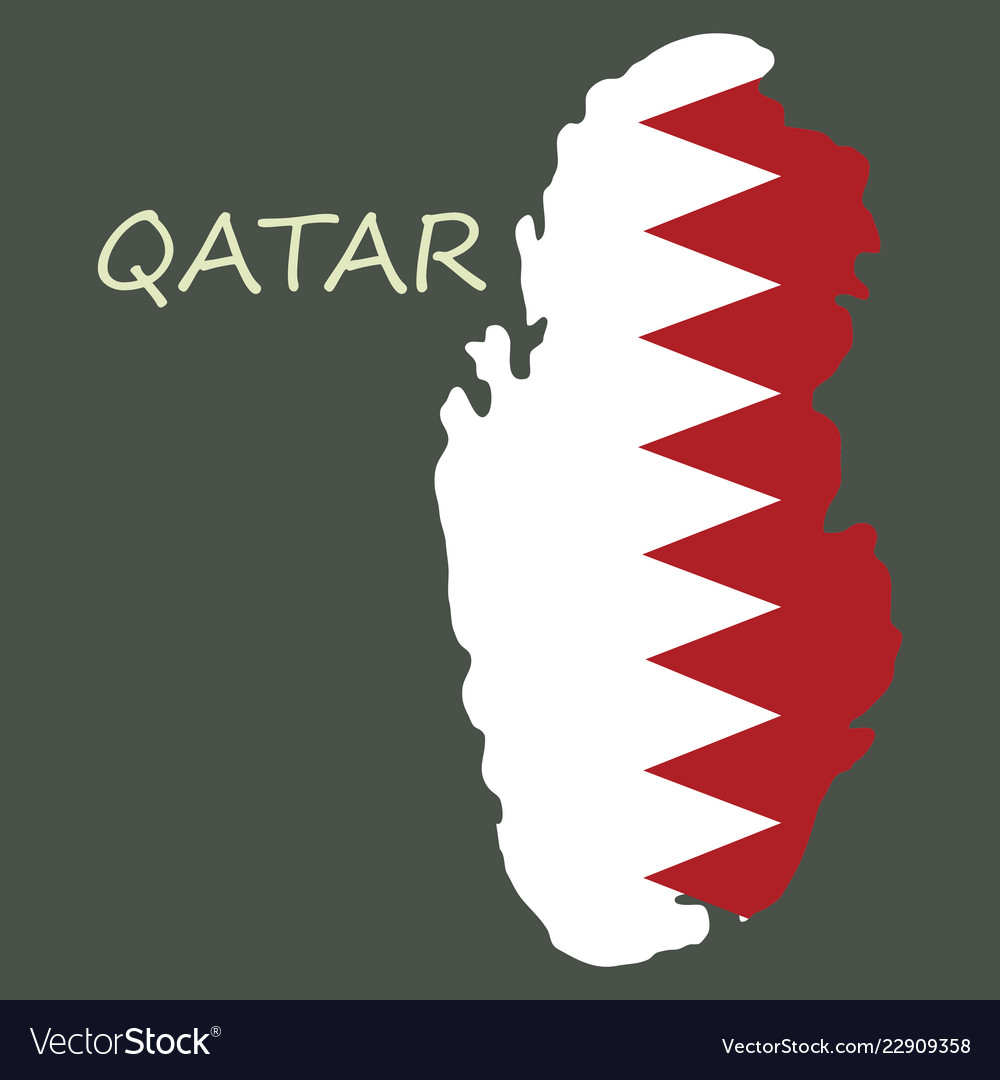 Qatar map with waving flag of country Royalty Free Vector on