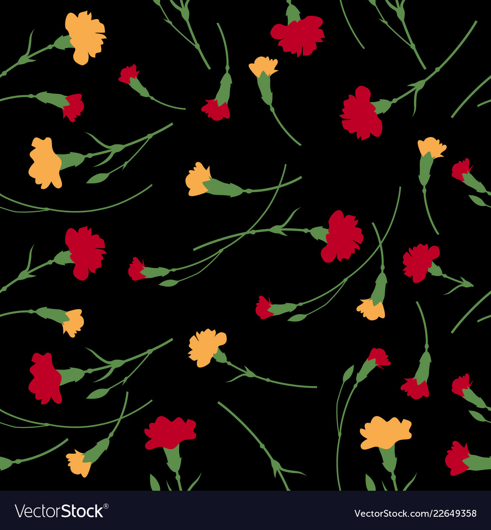 Seamless carnation flowers pattern on black