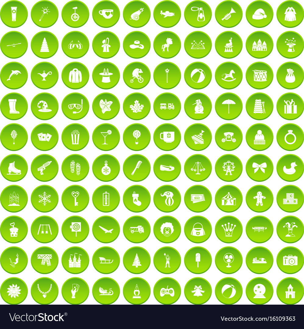 100 children icons set green vector image