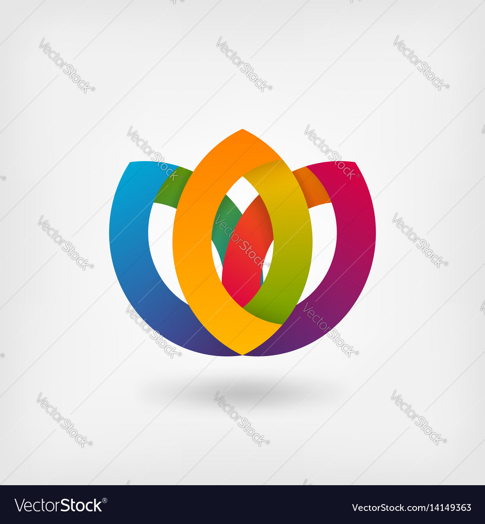 Abstract symbol flower in rainbow colors