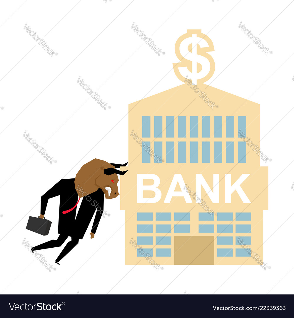 Bull and bank building businessman attacked bank