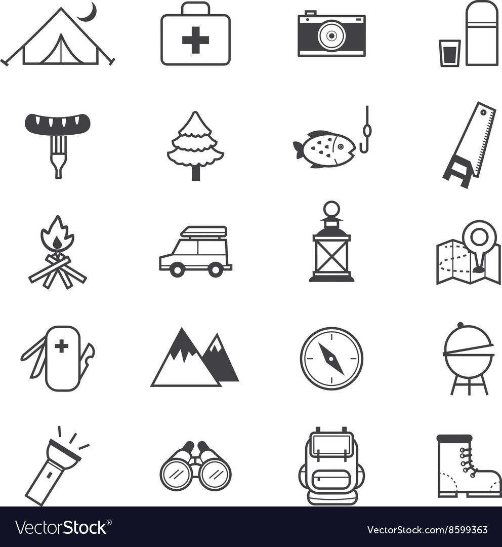 Camping Icons Line