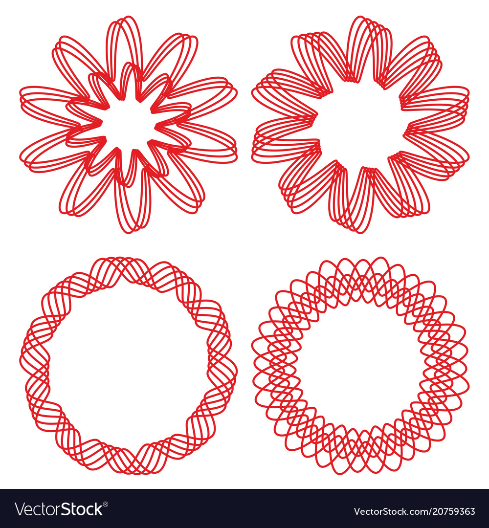 Collection of circle design elements red outline