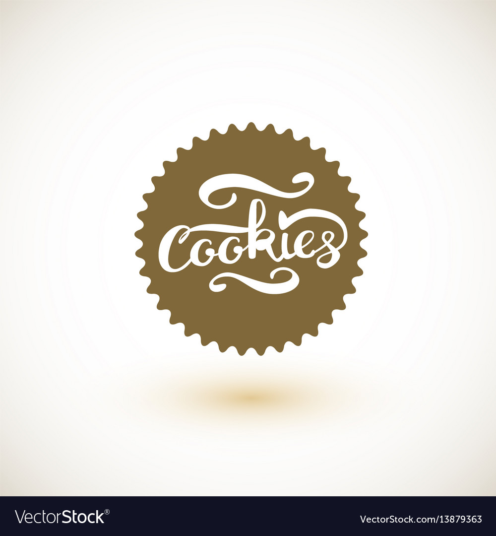 cookie logo and cookies lettering royalty free vector image vectorstock