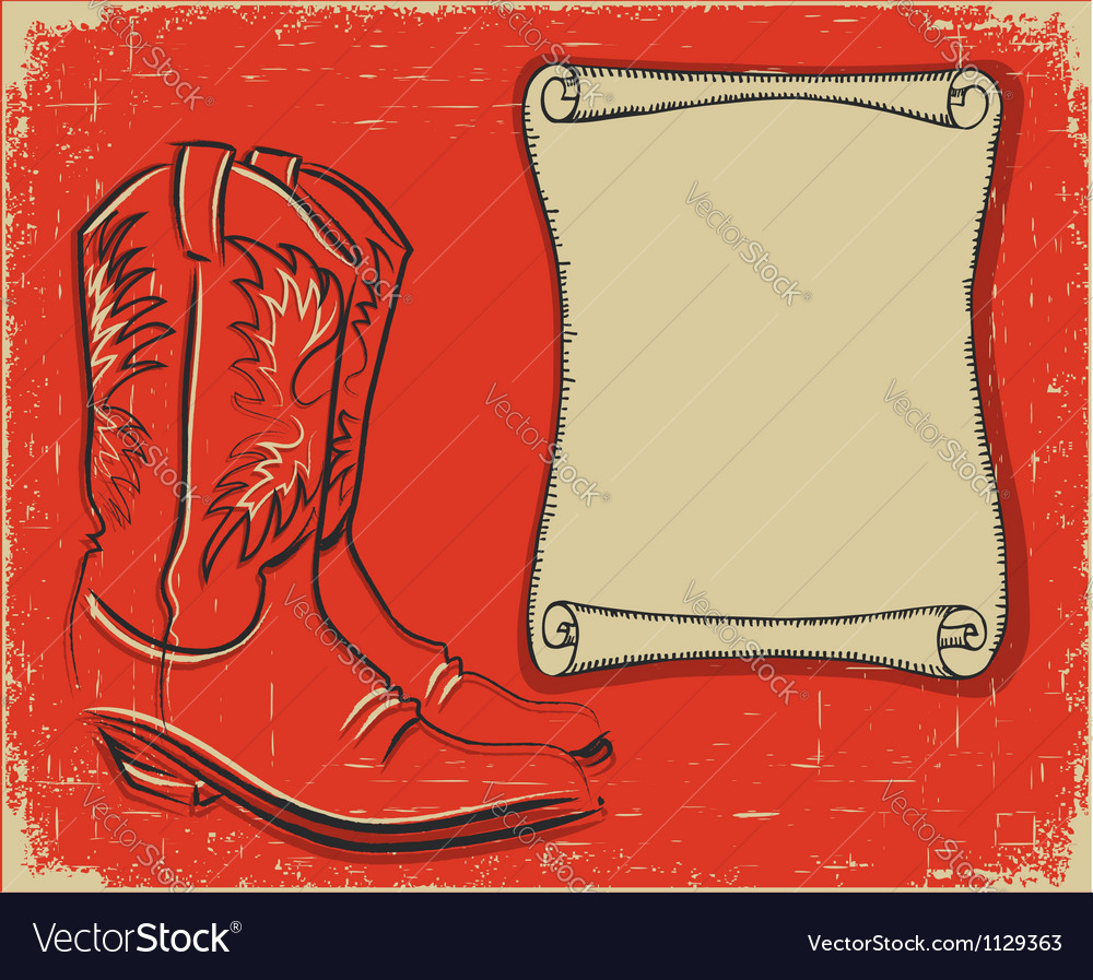 Cowboy boots and scroll paper background for text vector image
