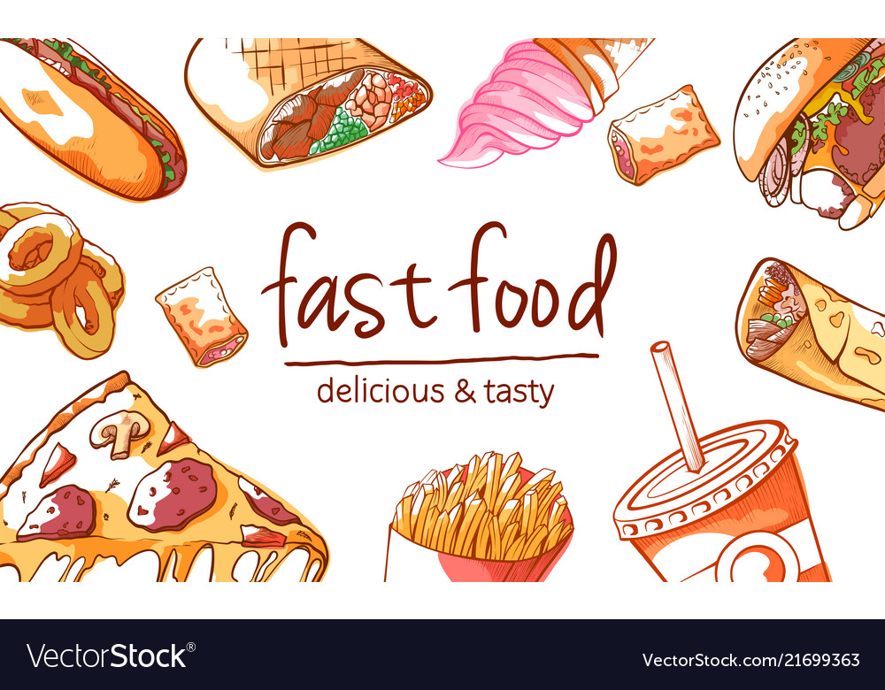 Fast food background on white