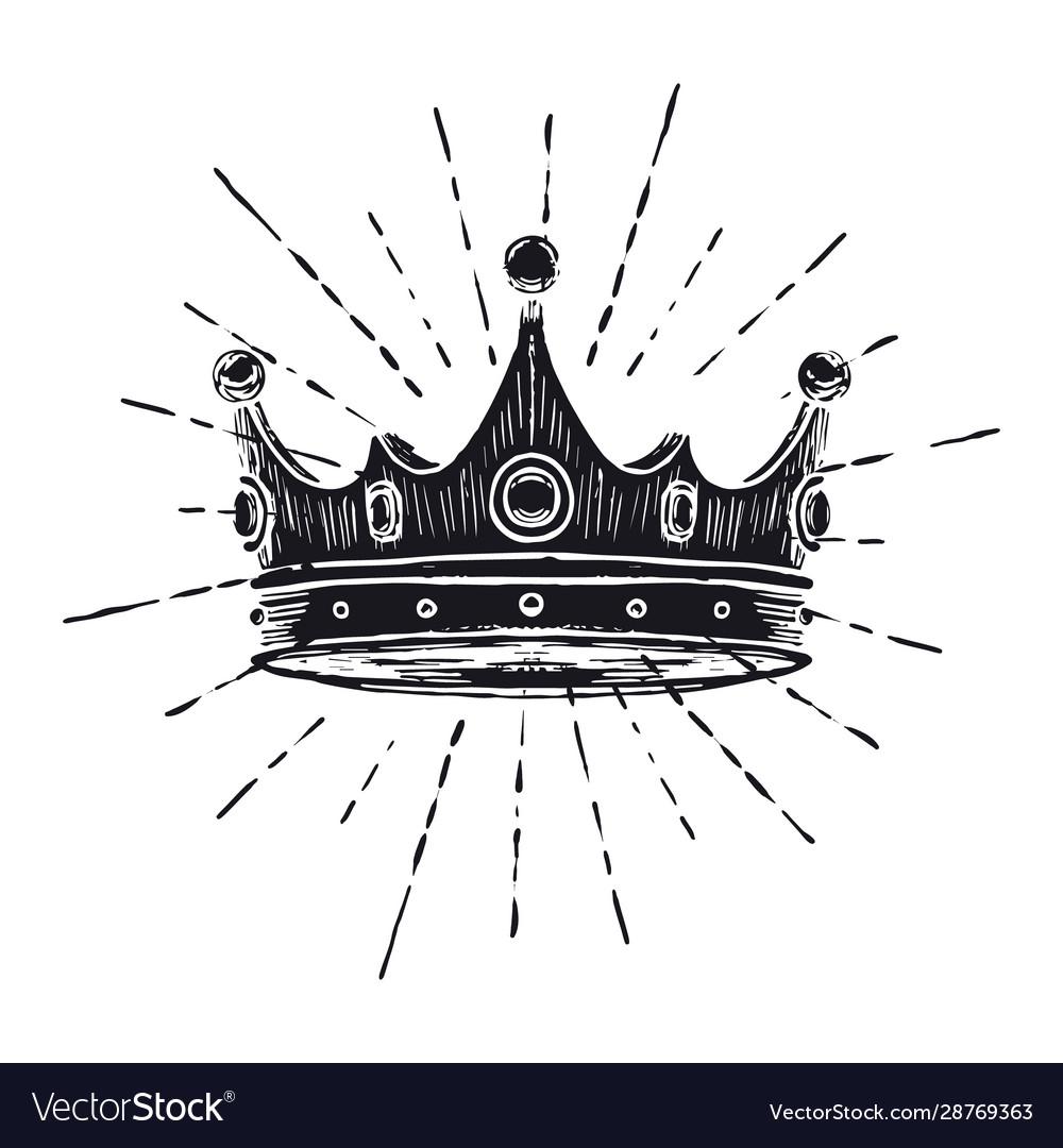 Hand drawn crown on white vintage engraved
