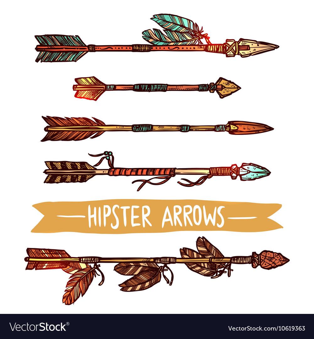 Hipster Color Sketch Arrows Set