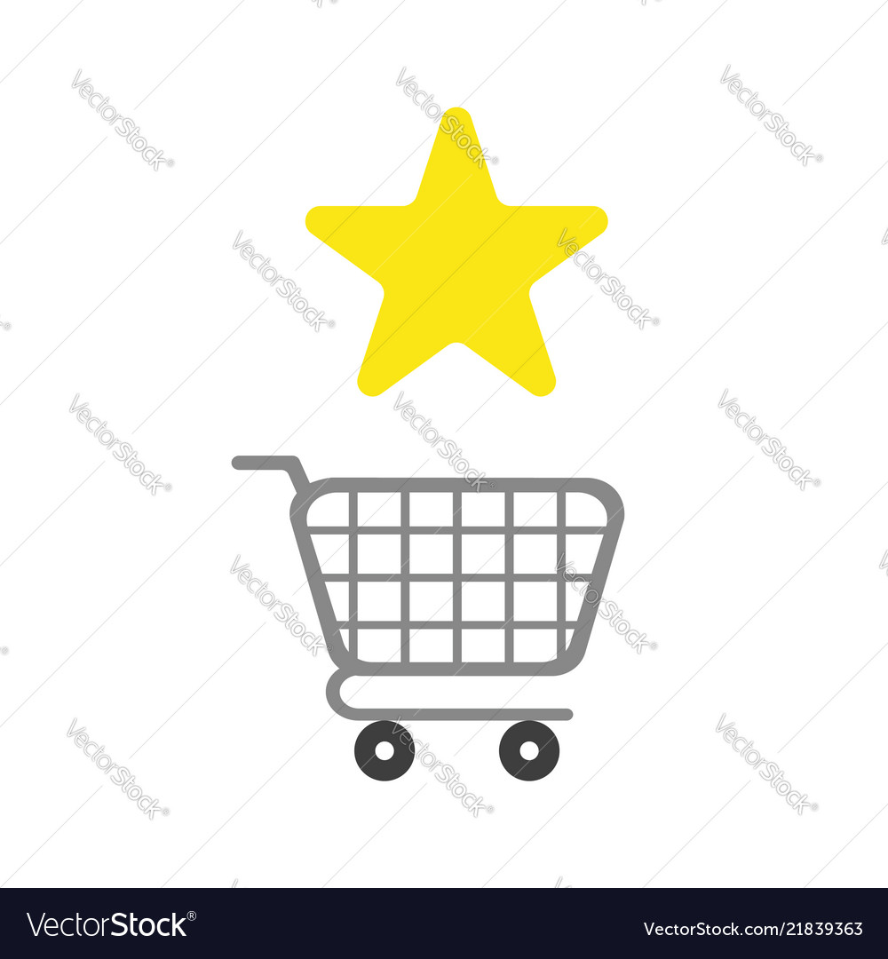 Icon concept of star symbol with shopping cart