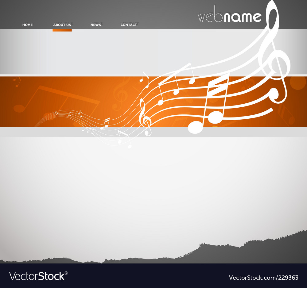 Musical website template vector image