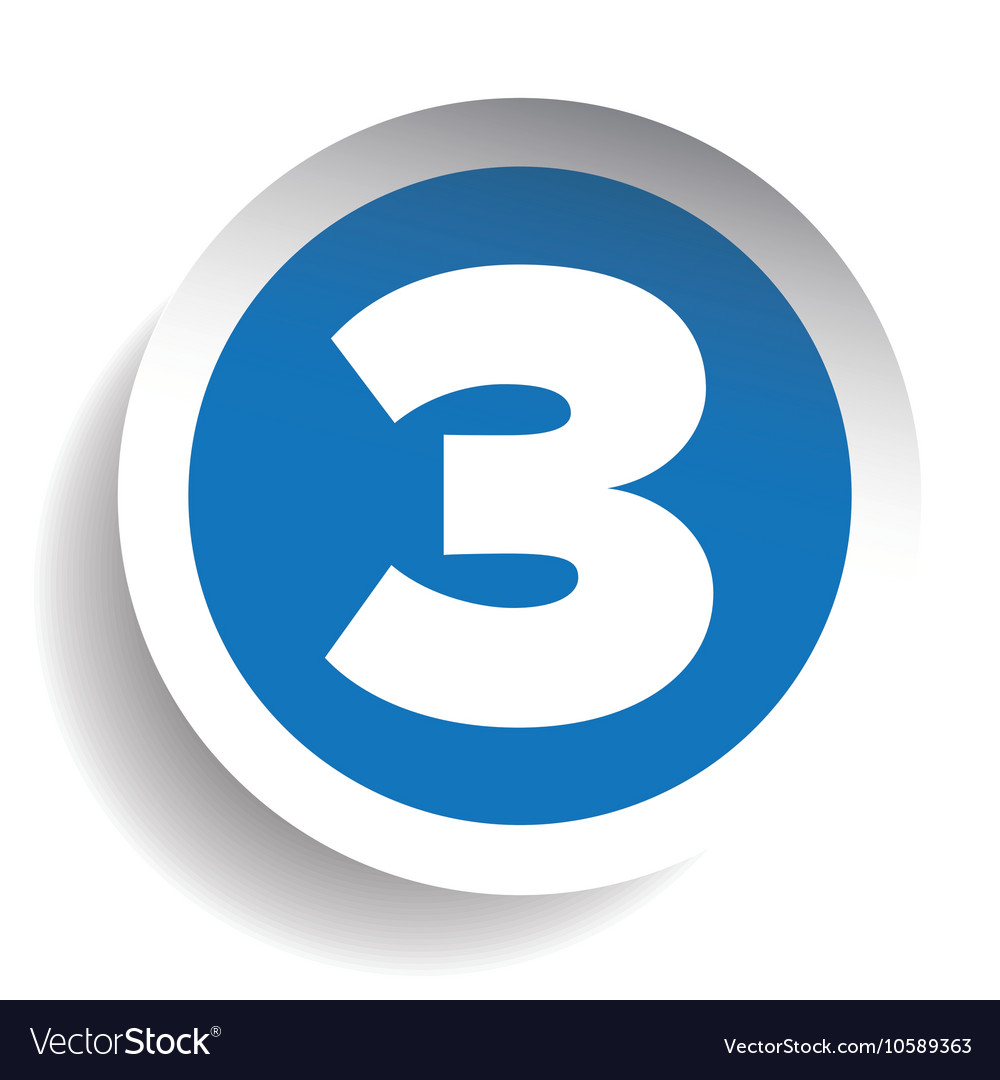 Number Three sticker blue