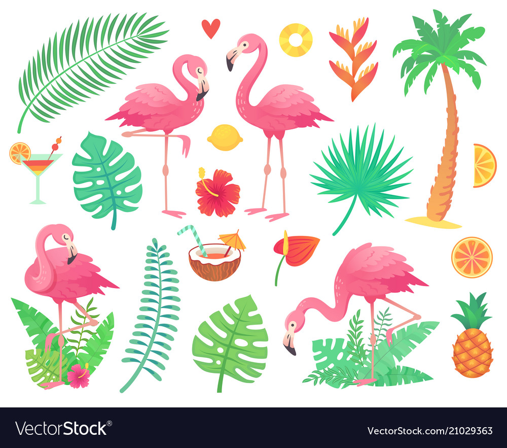 Pink flamingo and tropical plants beach palm