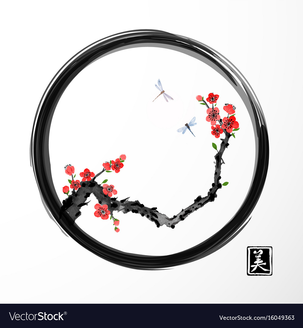 Red sakura cherry tree and two blue dragonflies in vector image