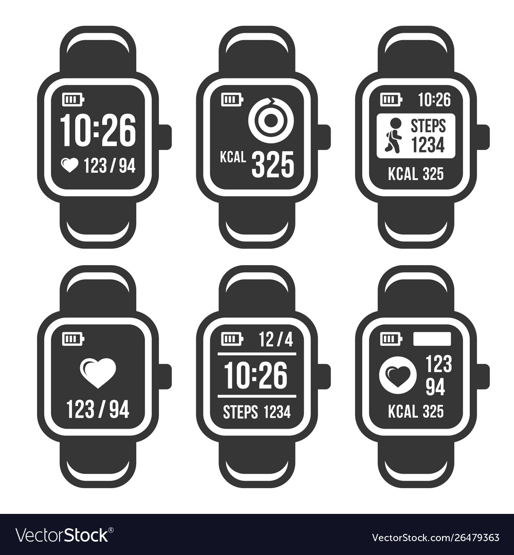 Smart watch and fitness tracker band icons set