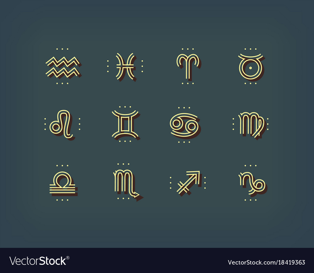 Zodiac Icon Sacred Symbols Astrology Signs Vector Image