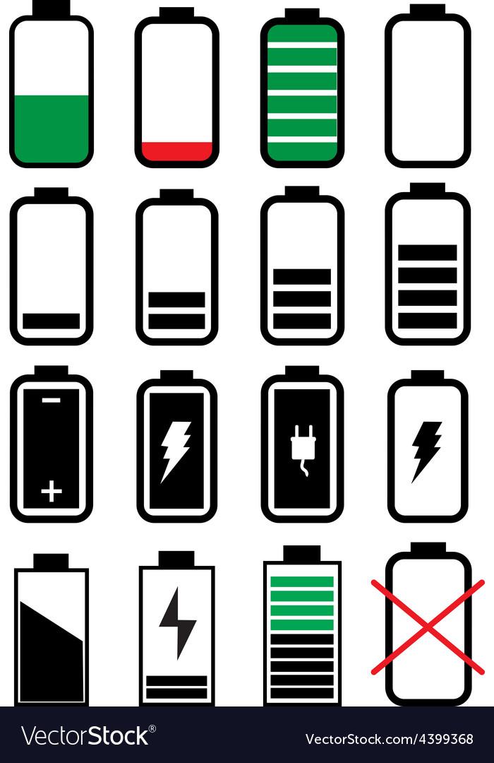 Battery life icons set