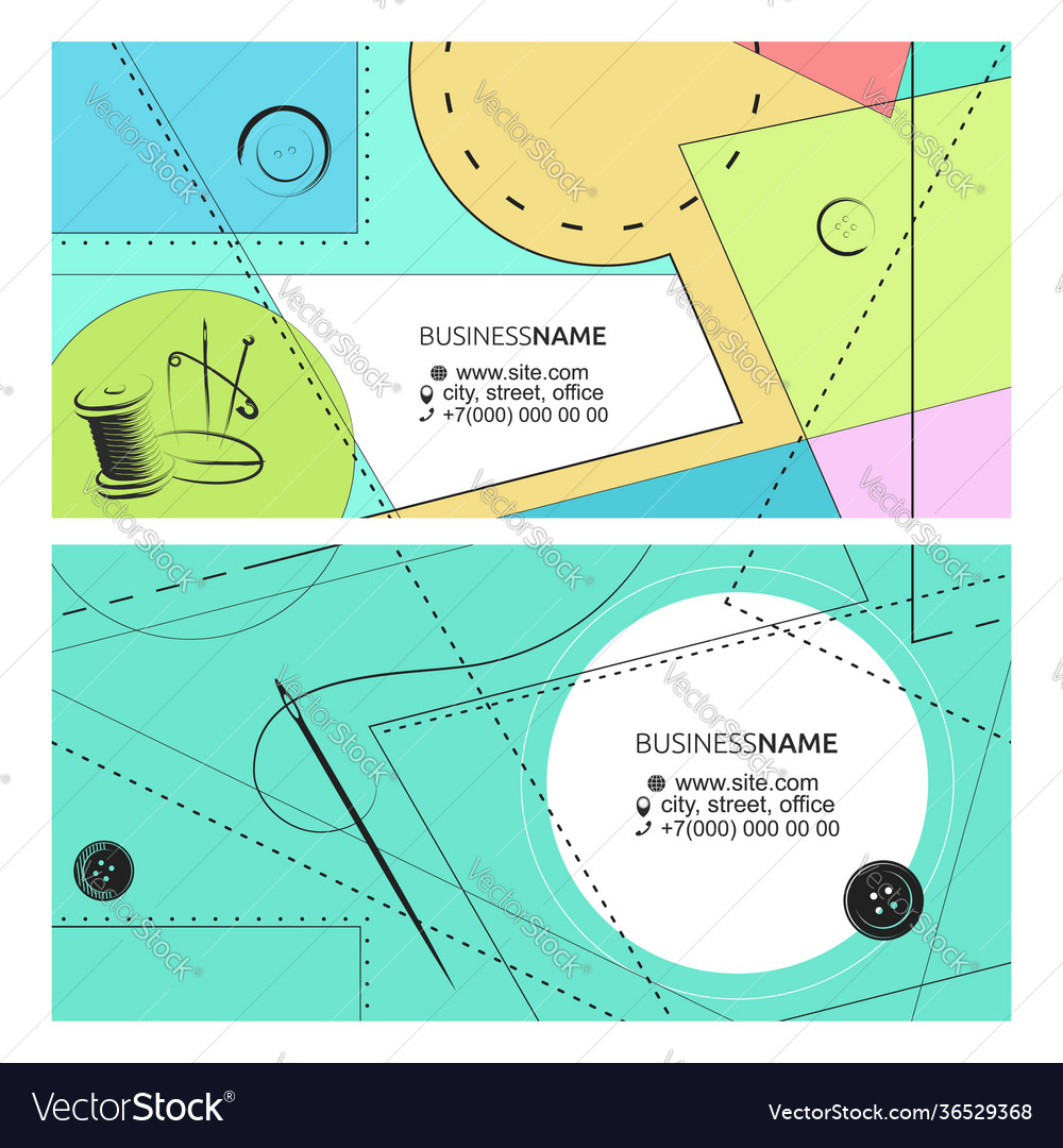 Business card pattern needle and thread concept