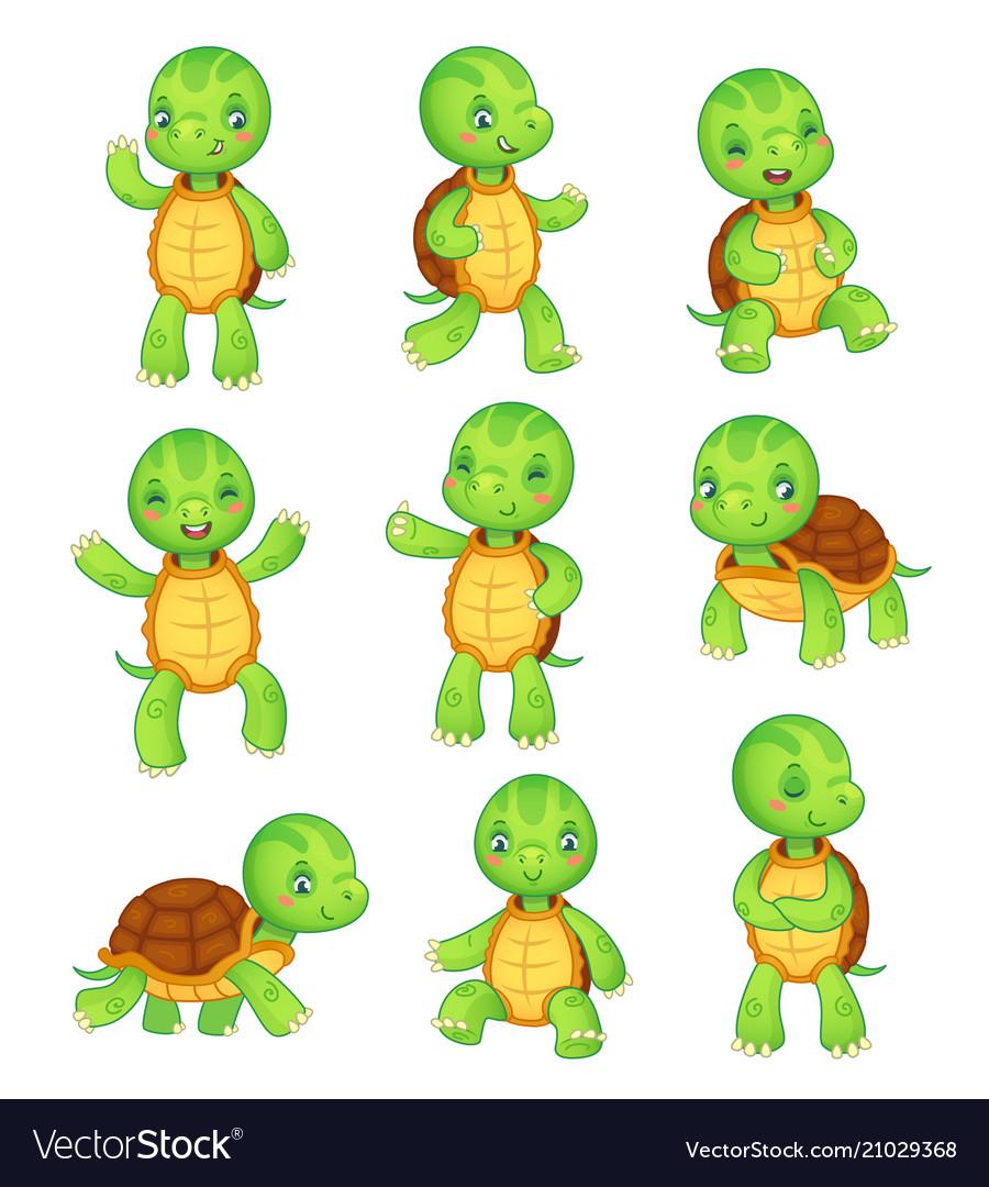 Cartoon turtle cute kids turtles wild animals