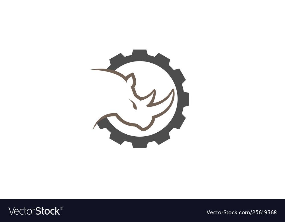 Creative black rhinoceros gear logo design symbol