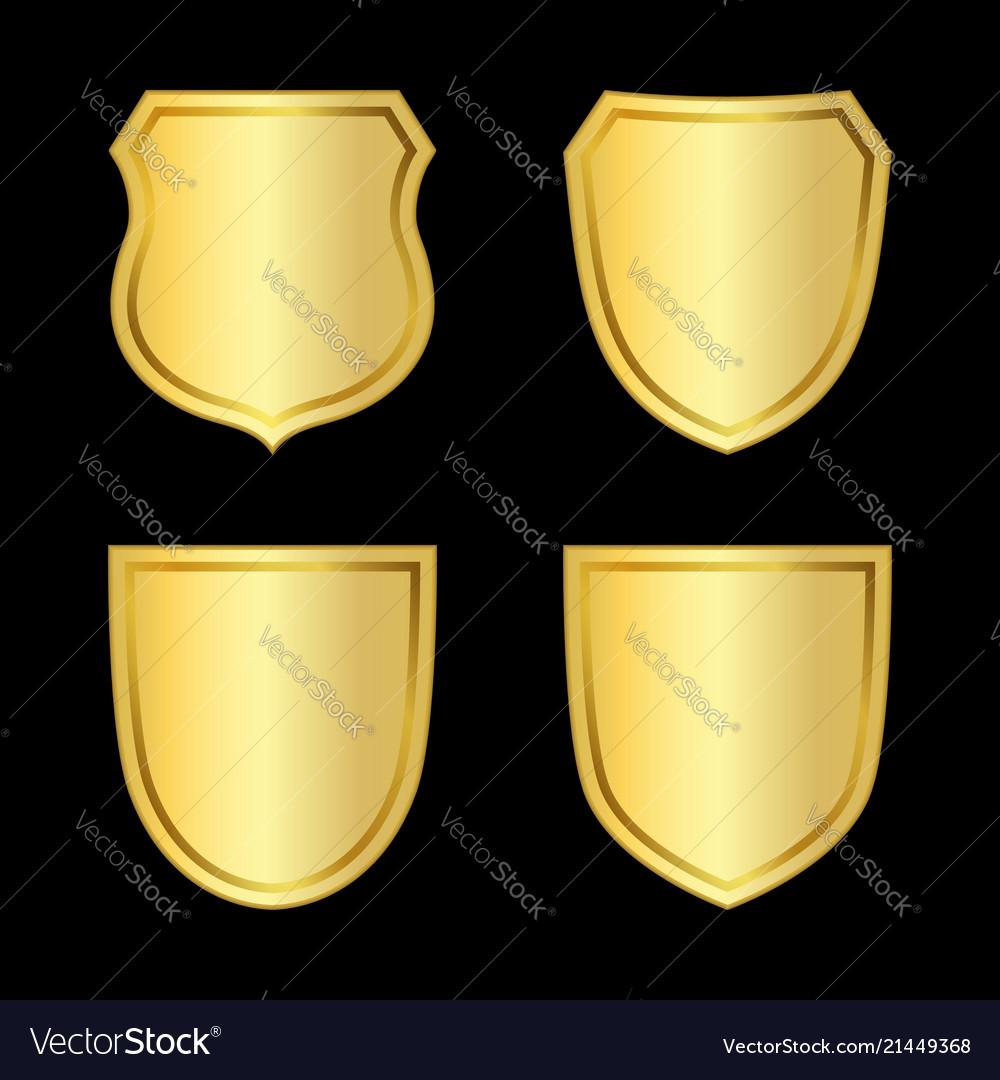 Gold shield shape icons set 3d golden emblem