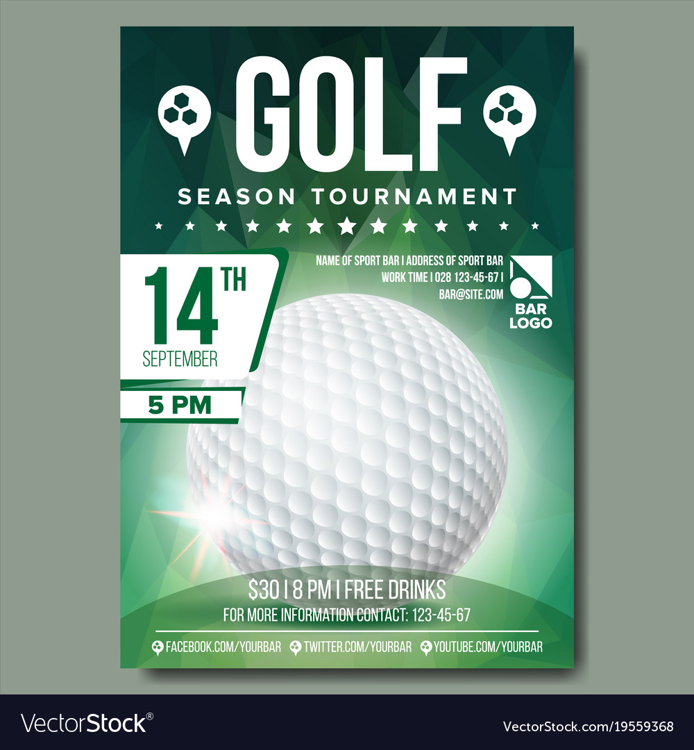 Golf Poster Banner Advertising Sport Royalty Free Vector
