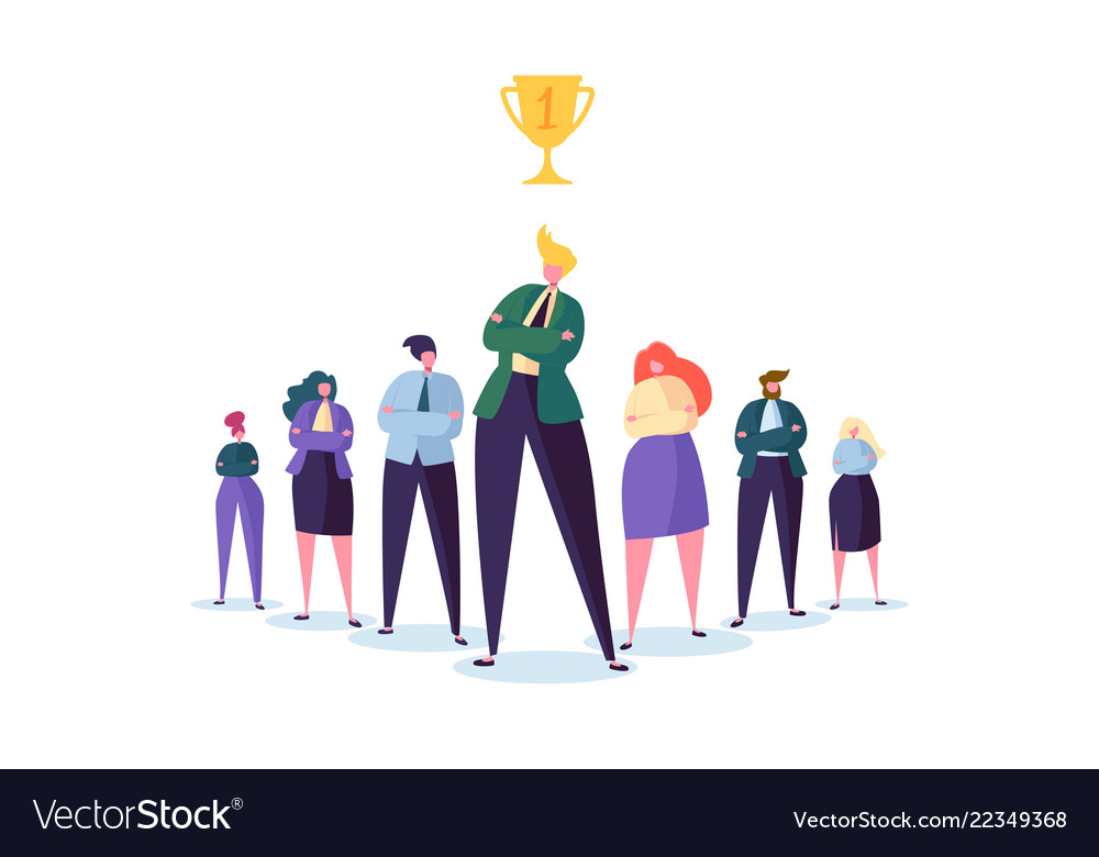 Group of business people characters with leader