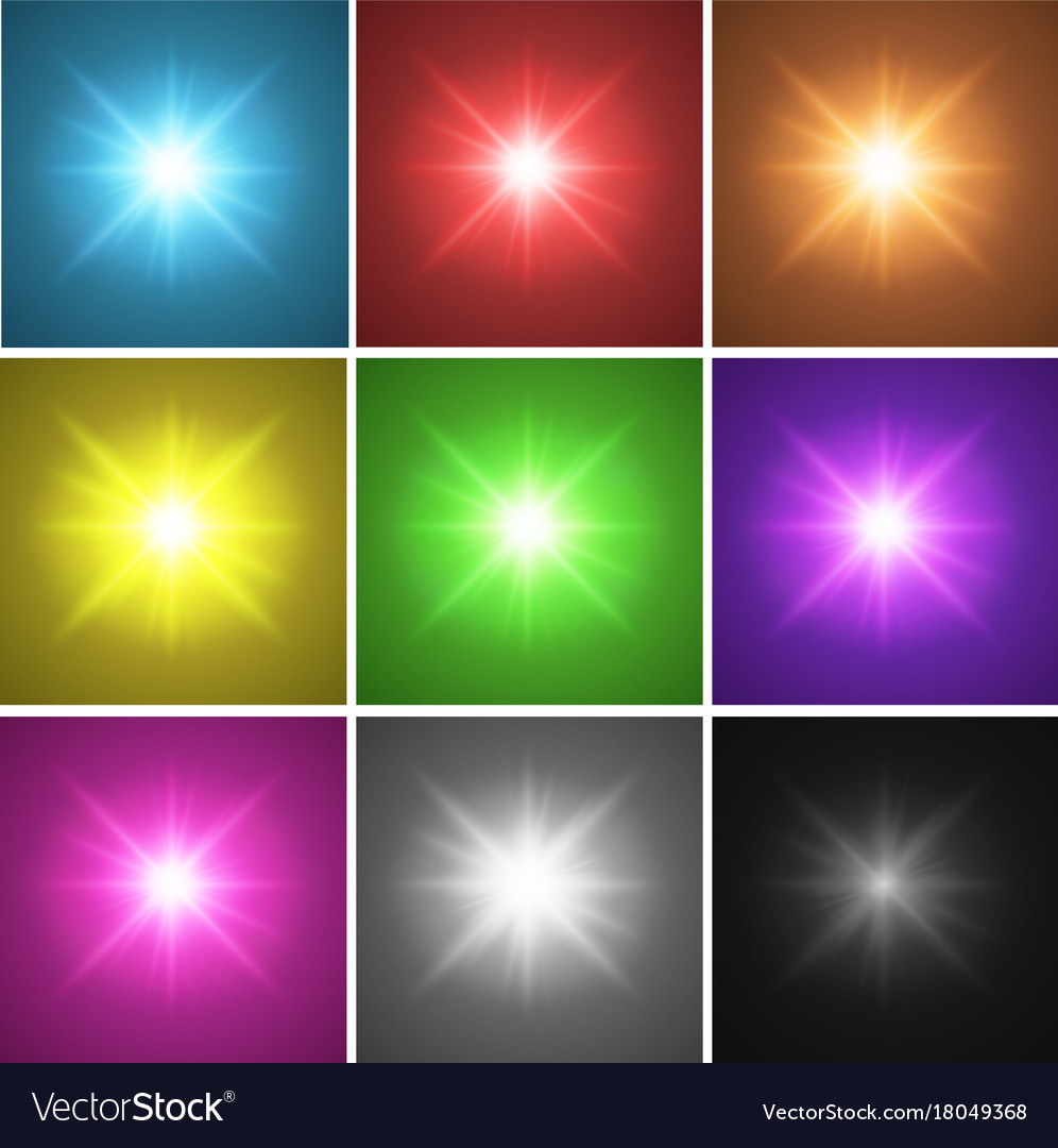 nine different color backgrounds with bright light