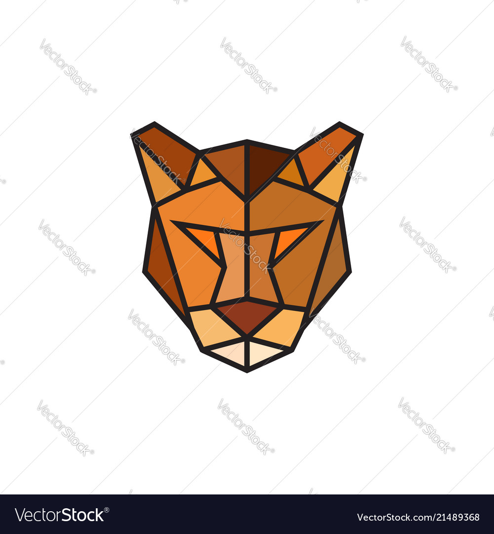 Polygonal puma emblem isolated
