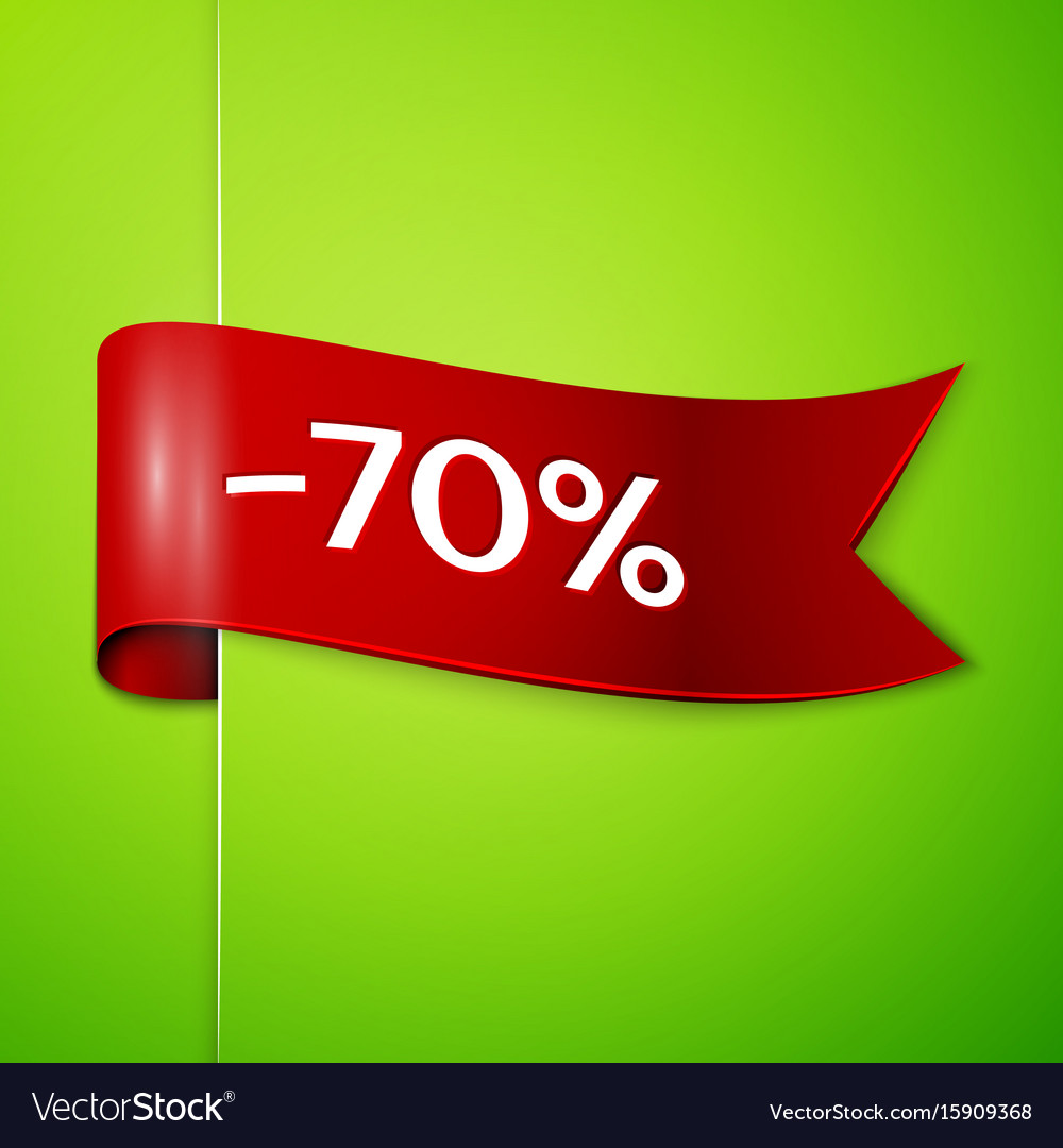 Red ribbon with text seventy percent for discount