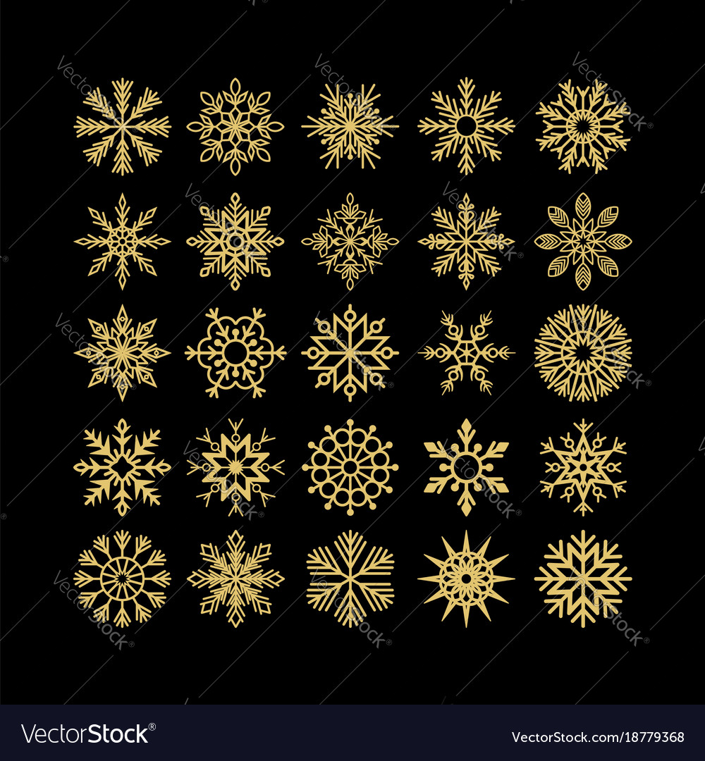 Set of christmas and new year snowflakes