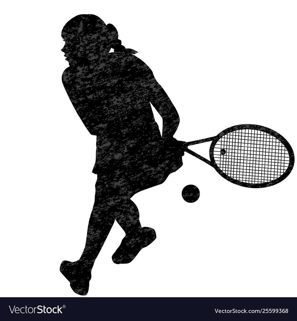 Tennis woman player silhouette