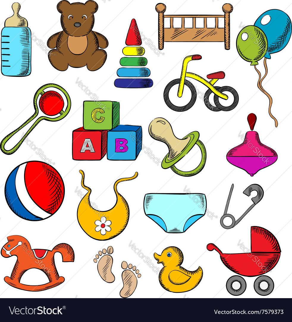 Baby and childish toys icons