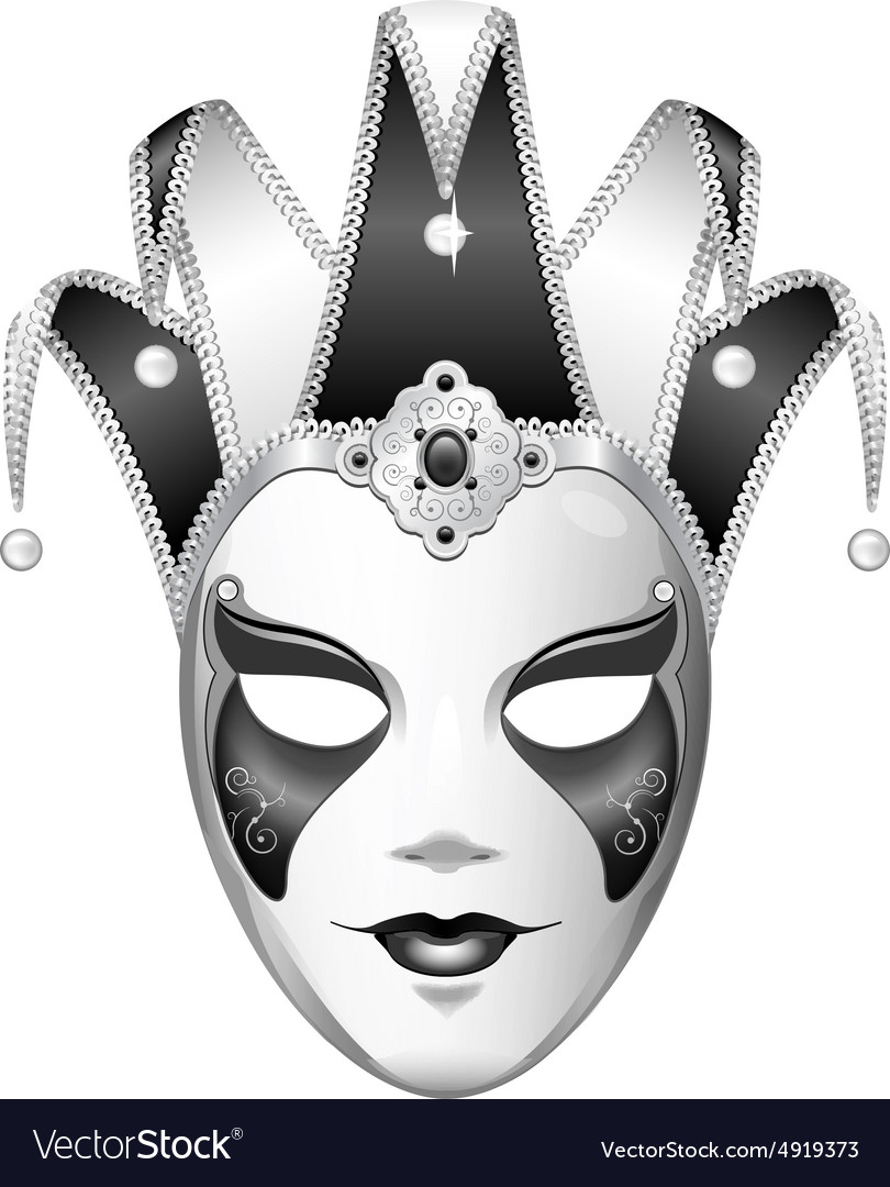 Black and white joker mask vector image