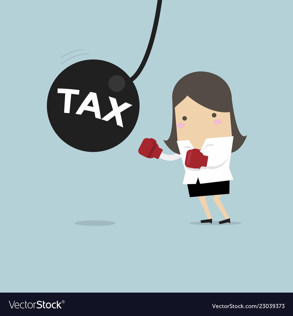 Businesswoman punching the big pendulum tax