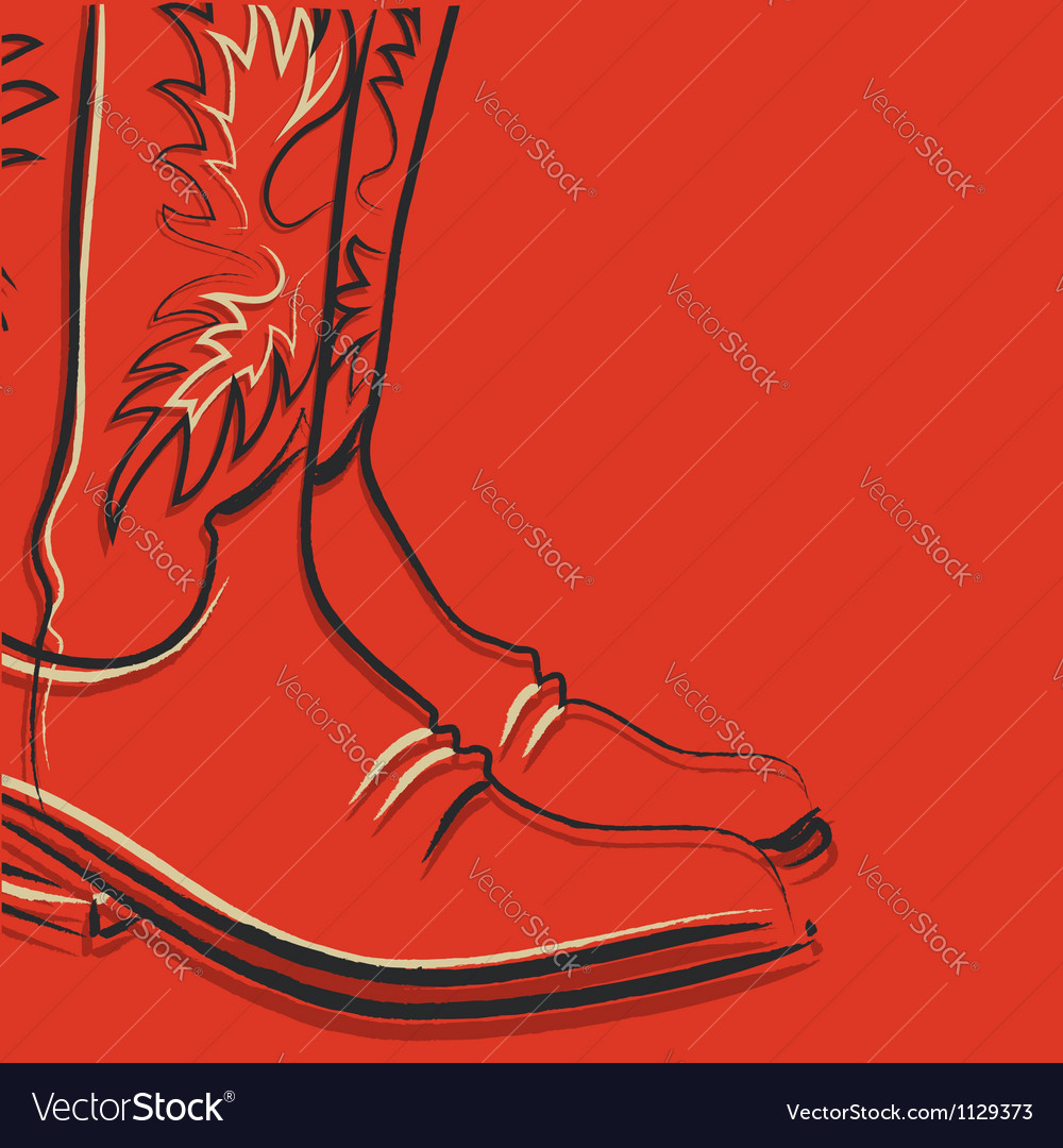 Cowboy boots on red background vector image