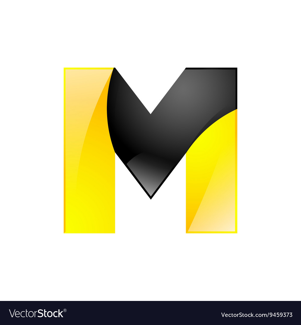 Creative yellow and black symbol letter m for your vector